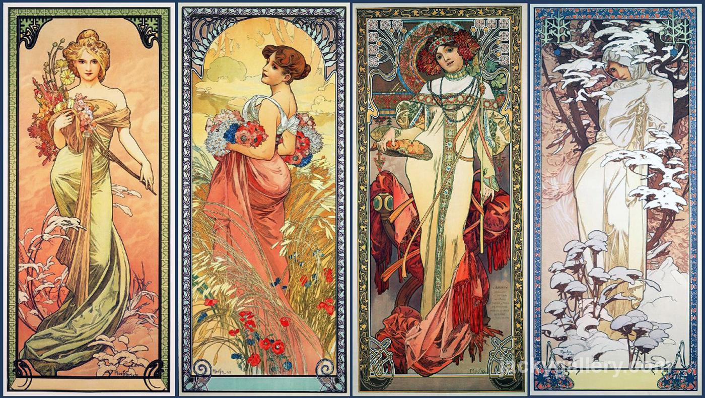 Series of The Four Seasons, Alphonse Mucha painting