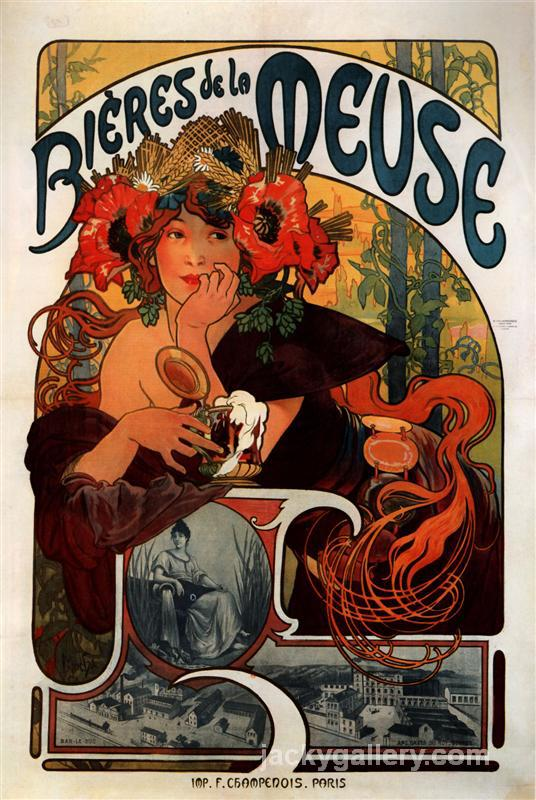 Beer of the Meuse, Alphonse Mucha painting