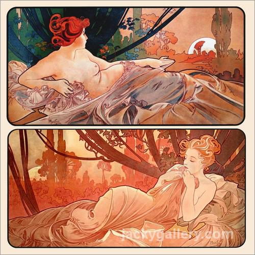 Dusk and Dawn, Alphonse Mucha painting