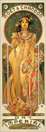 Moet, Chandon, Dry Imperial, Alphonse Mucha painting