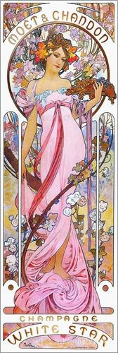 Moet and Chandon, White Star, rose, Alphonse Mucha painting