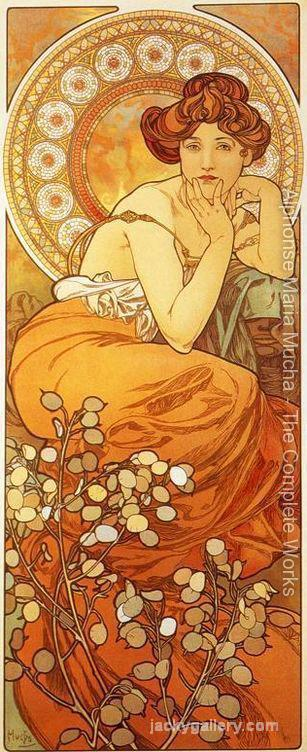 Topaz, From The Precious Stones Series, Alphonse Mucha painting