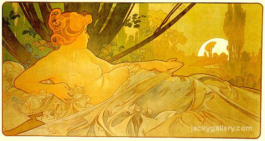 Aawn, Alphonse Mucha painting