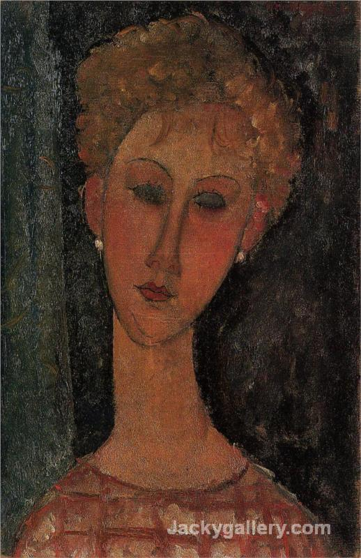 A Blond Wearing Earrings by Amedeo Modigliani paintings reproduction