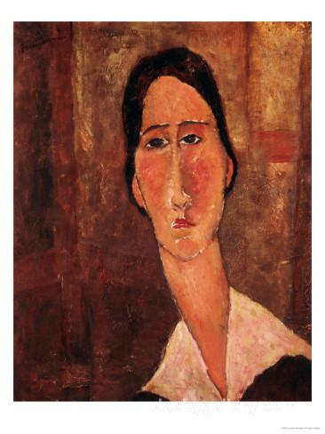 A Portrait of Jeanne Hebuterne by Amedeo Modigliani paintings reproduction