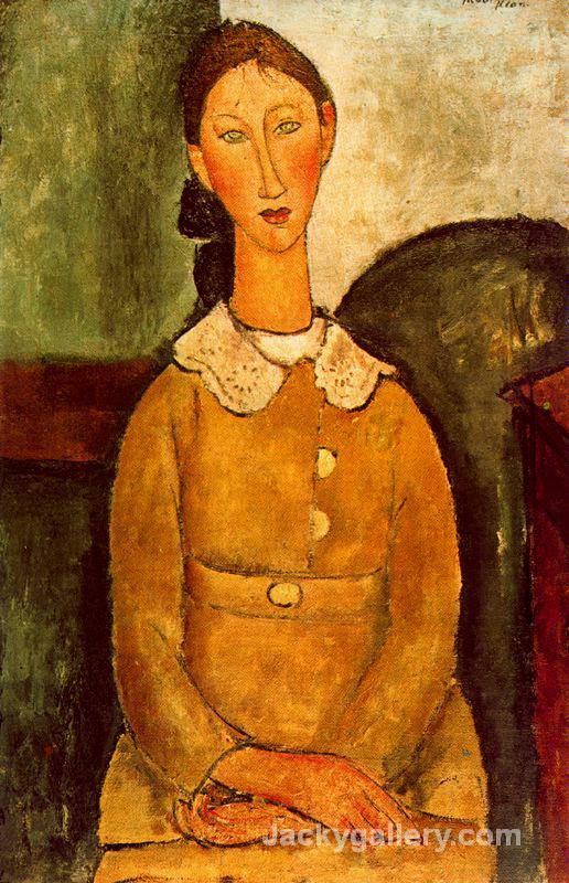 A girl in yellow dress by Amedeo Modigliani paintings reproduction
