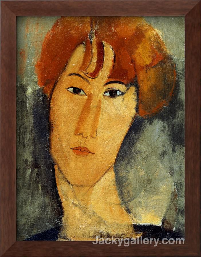 A young Woman with a Reddish Brown Collar by Amedeo Modigliani paintings reproduction