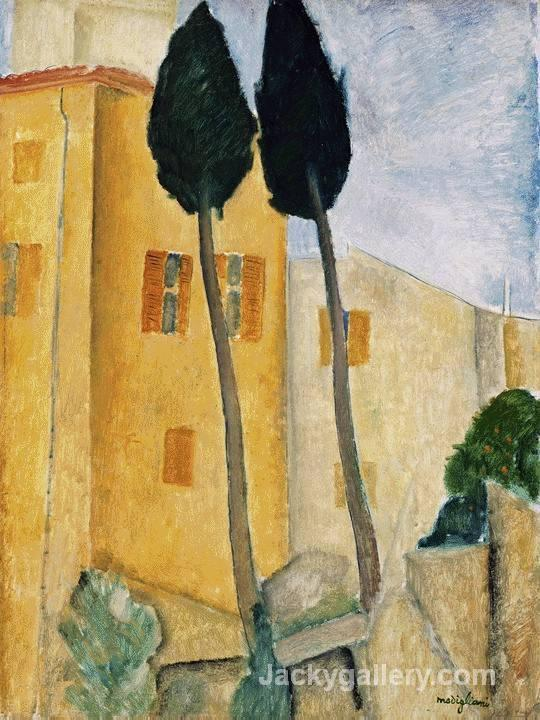 Cypress Trees and Houses, Midday Landscape by Amedeo Modigliani paintings reproduction