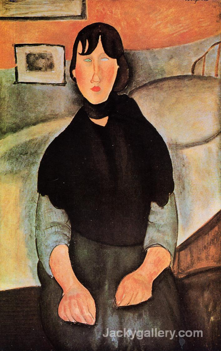 Dark Young Woman Seated by a Bed by Amedeo Modigliani paintings reproduction