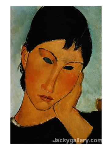 Detail of Female Head from Elvira Resting at a Table by Amedeo Modigliani paintings reproduction