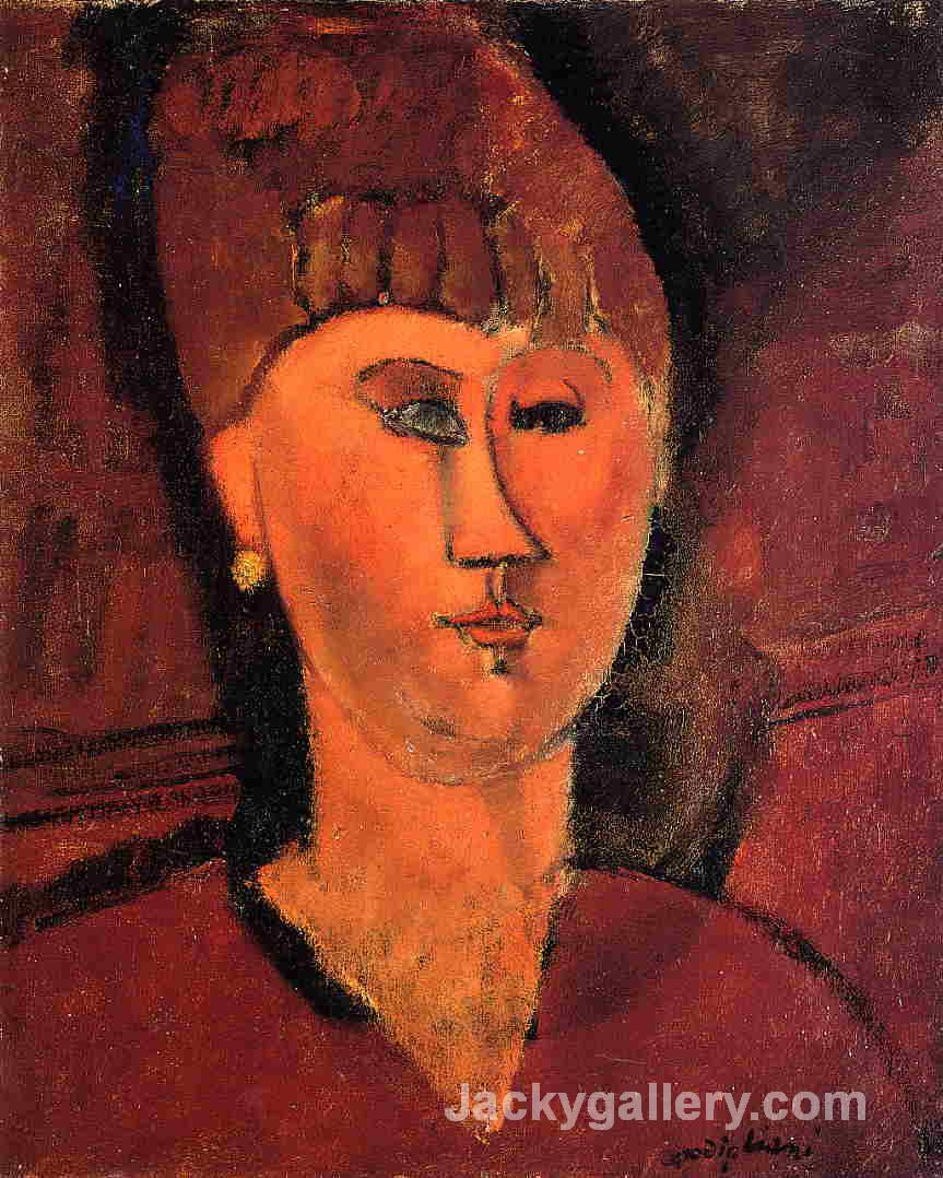 Head of Red-Haired Woman by Amedeo Modigliani paintings reproduction