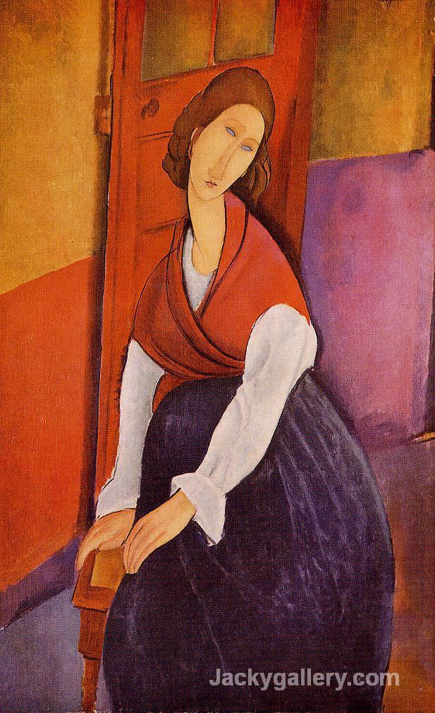 Jeanne Hebuterne (aka In Front of a Door) by Amedeo Modigliani paintings reproduction