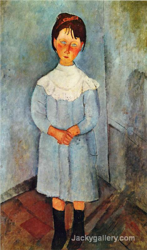 Little girl in blue by Amedeo Modigliani paintings reproduction