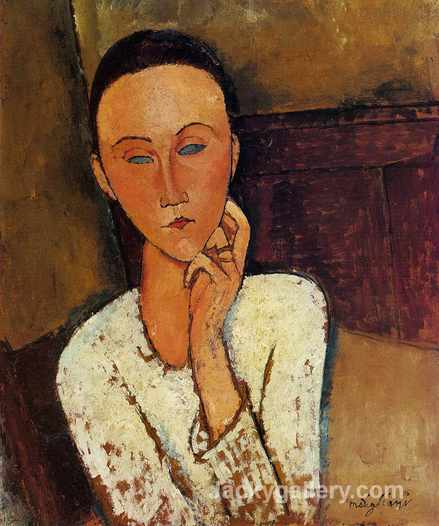 Lunia Czechowska, Left Hand on Her Cheek by Amedeo Modigliani paintings reproduction