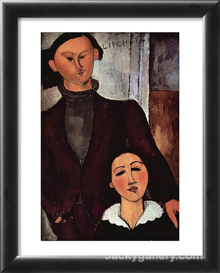 Portrait of Jacques and Berthe Lipchitz by Amedeo Modigliani paintings reproduction