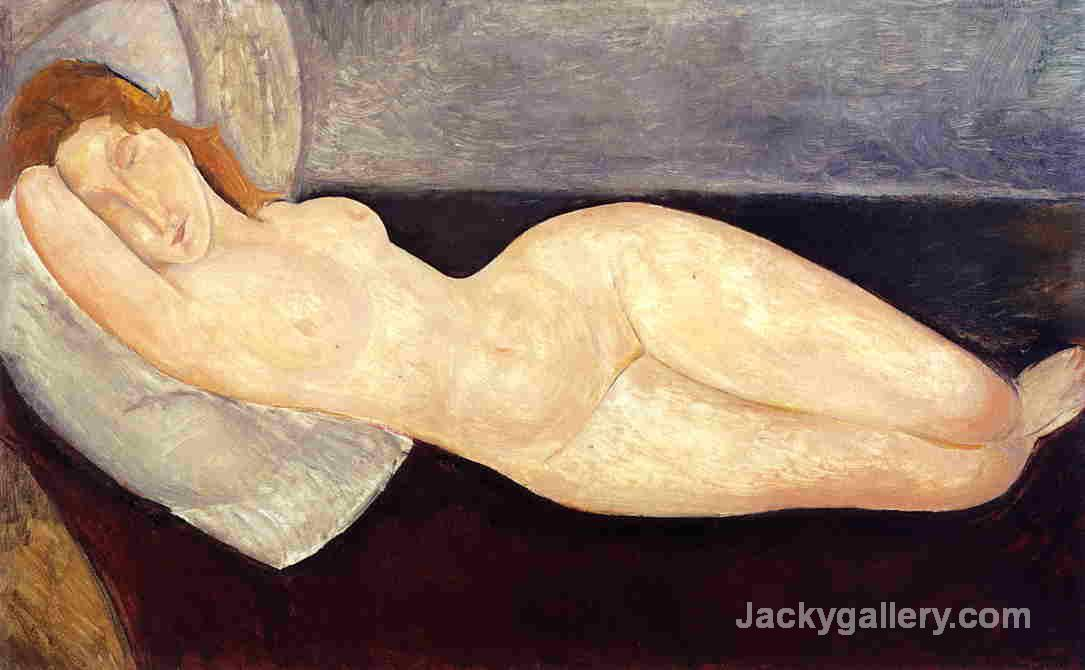 Reclining Nude, Head on Right Arm by Amedeo Modigliani paintings reproduction