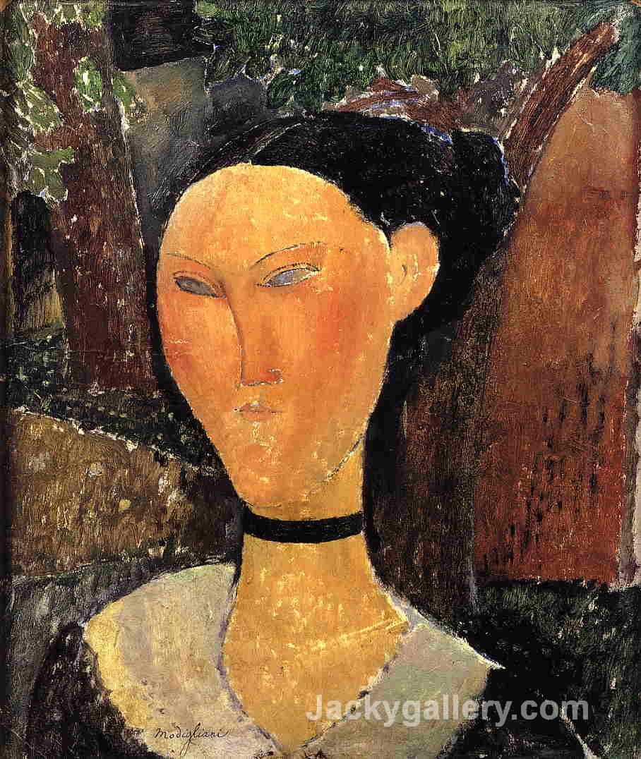 Woman with Velvet Ribbon by Amedeo Modigliani paintings reproduction