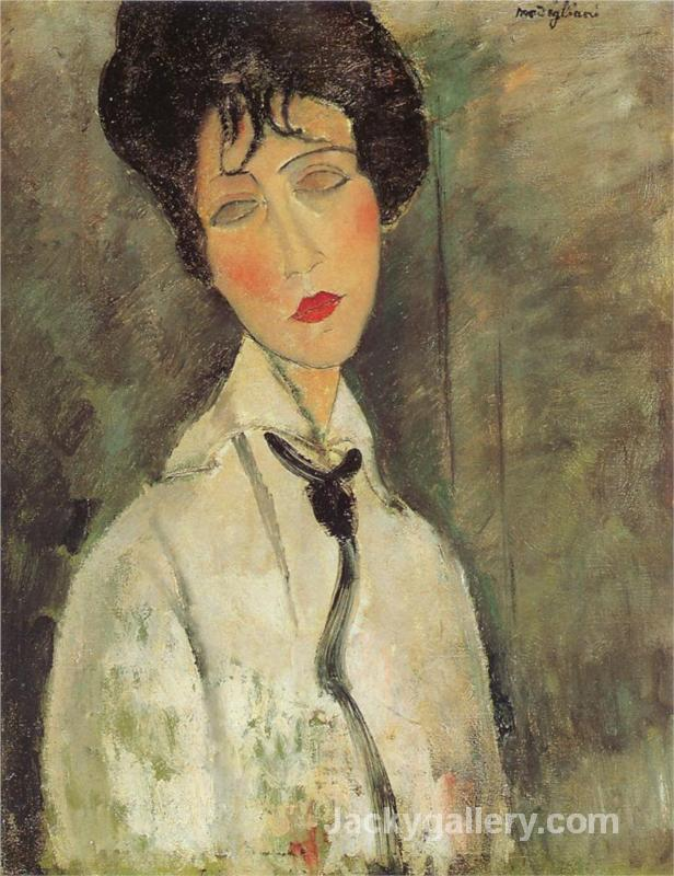 Woman with a Black Tie by Amedeo Modigliani paintings reproduction