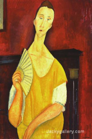 Woman with a Fan by Amedeo Modigliani paintings reproduction