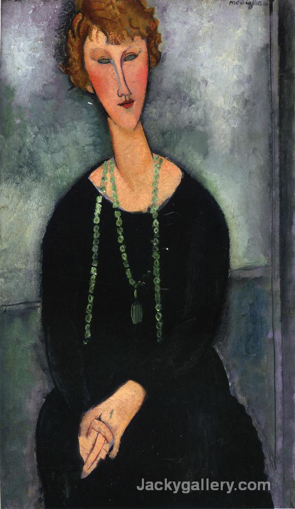 Woman with a Green Necklace by Amedeo Modigliani paintings reproduction
