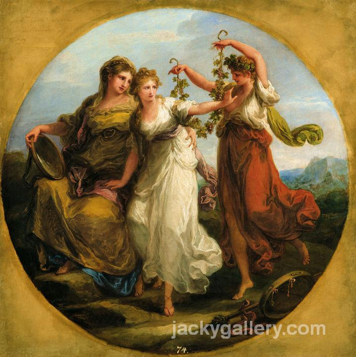 Beauty, supported by Prudence, Scorns the Offering of Folly, Angelica Kauffman painting