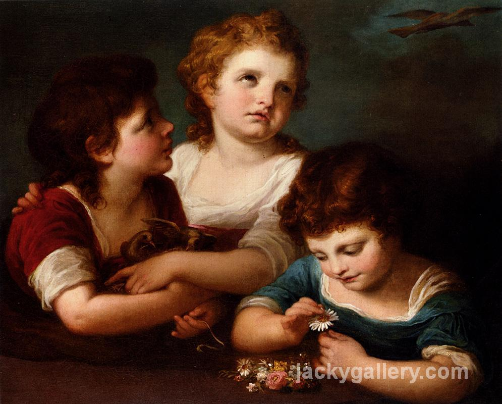Children with a birds nest and flowers, Angelica Kauffman painting