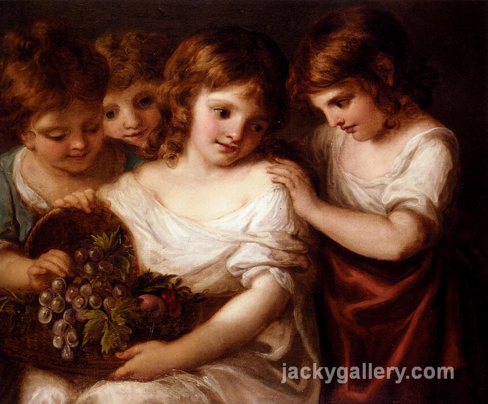 Four Children With A Basket Of Fruit, Angelica Kauffman painting