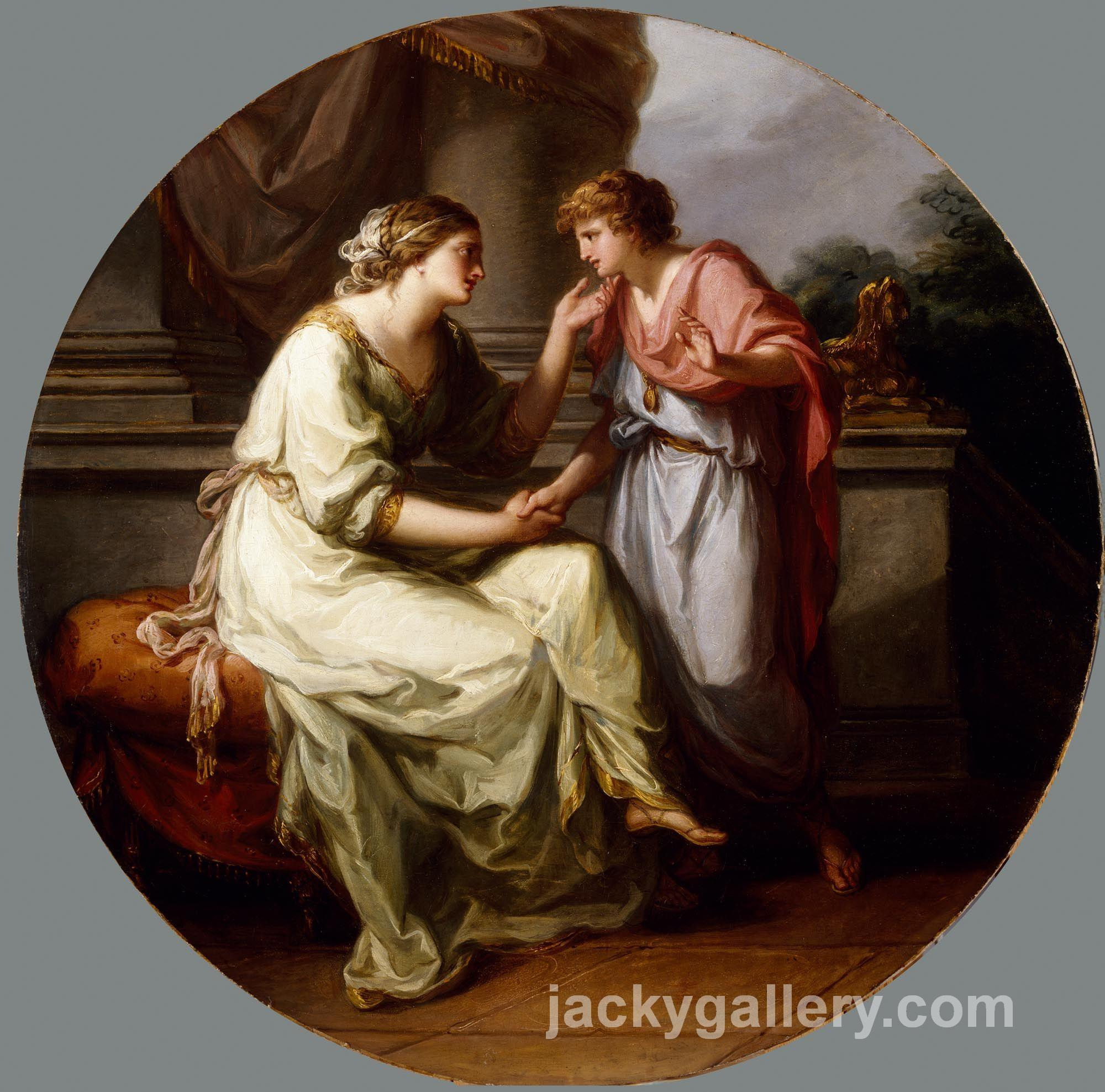 Papirius Praetextatus Entreated by his Mother to Disclose the Secrets of the Deliberations of the Roman Senate, Angelica Kauffman painting