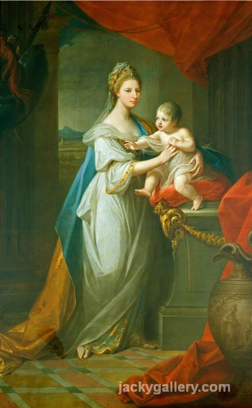 Portrait of Augusta of Hanover with her first born son Karl Georg of Brunswick, Angelica Kauffman painting