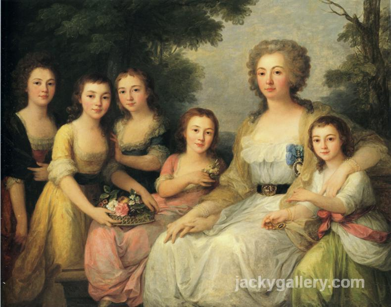 Portrait of Countess A S Protasova with Her Nieces, Angelica Kauffman painting