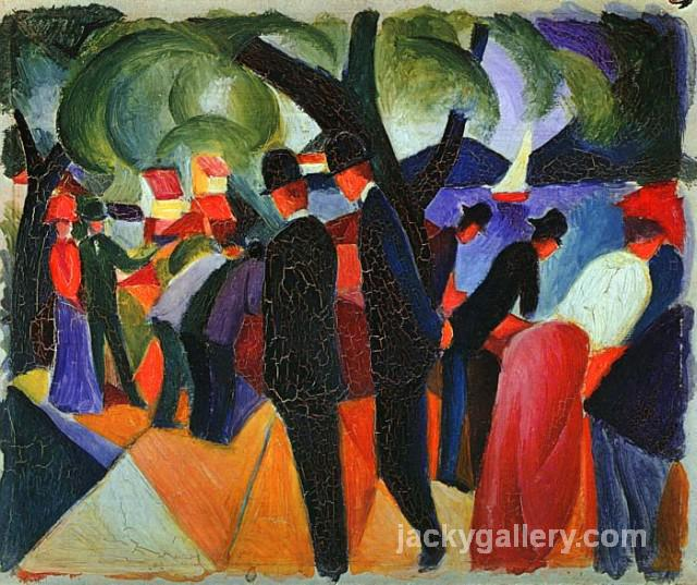 A Stroll on the Bridge, August Macke painting