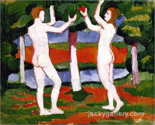 Adam and Eve, August Macke painting