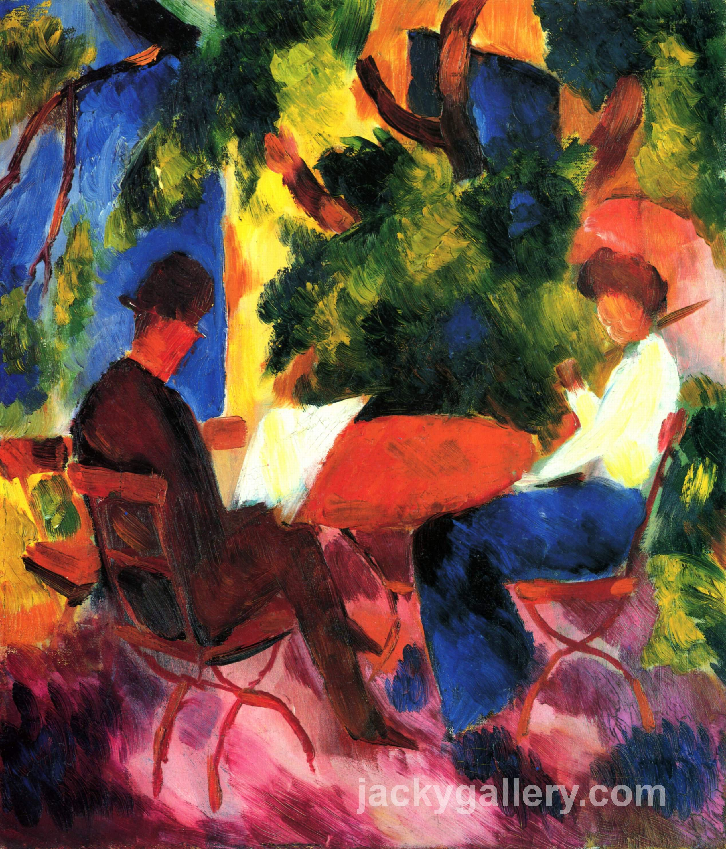 At the Garden Table, August Macke painting
