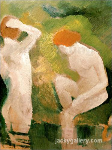 Bathers at the green slope, August Macke painting