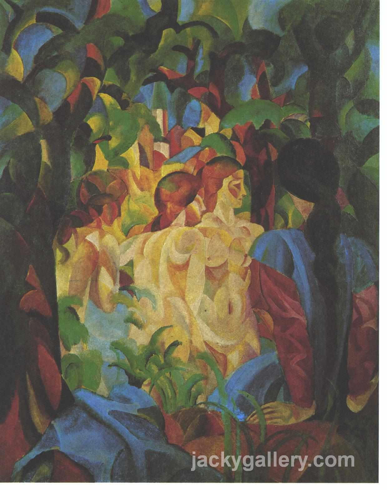 Bathing girls with town in the backgraund, August Macke painting