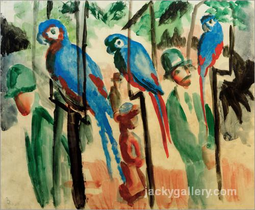 Bei den Papageien, August Macke painting