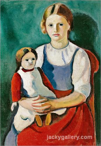 Blond girl with a doll, August Macke painting