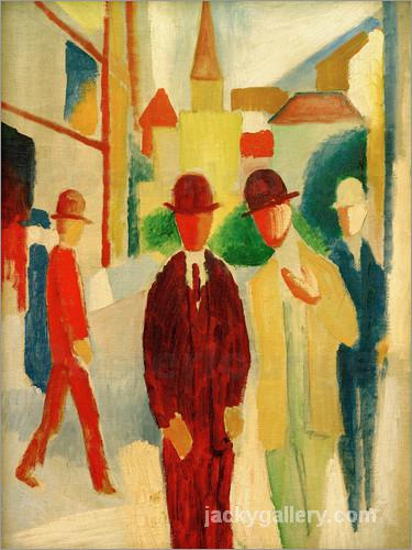 Bright street with people, August Macke painting