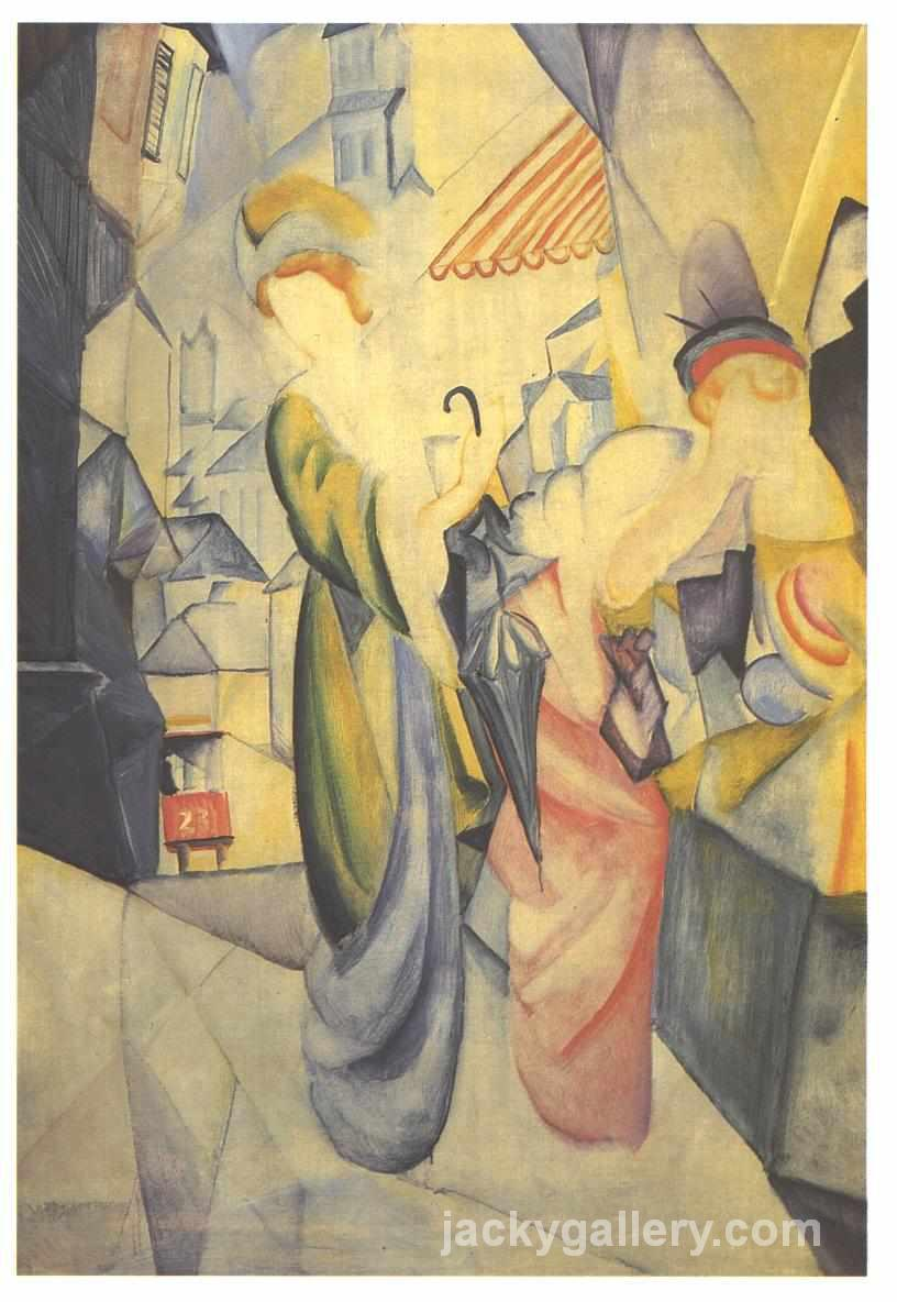 Bright woman in front of a hat store, August Macke painting
