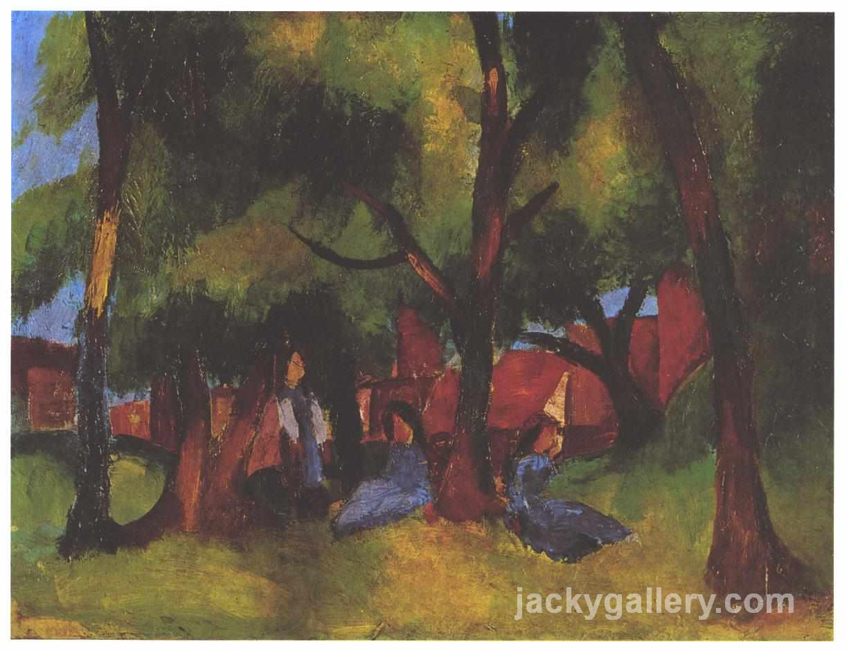 Children and sunny trees, August Macke painting