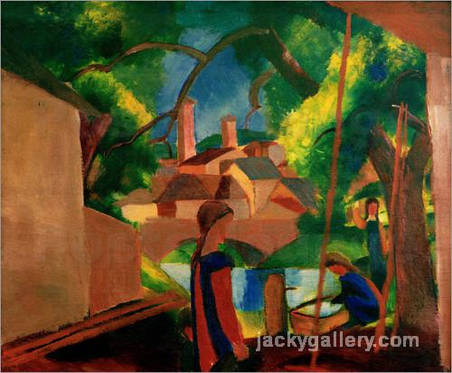 Childrens by the Fountain, with Town in the Background, August Macke painting