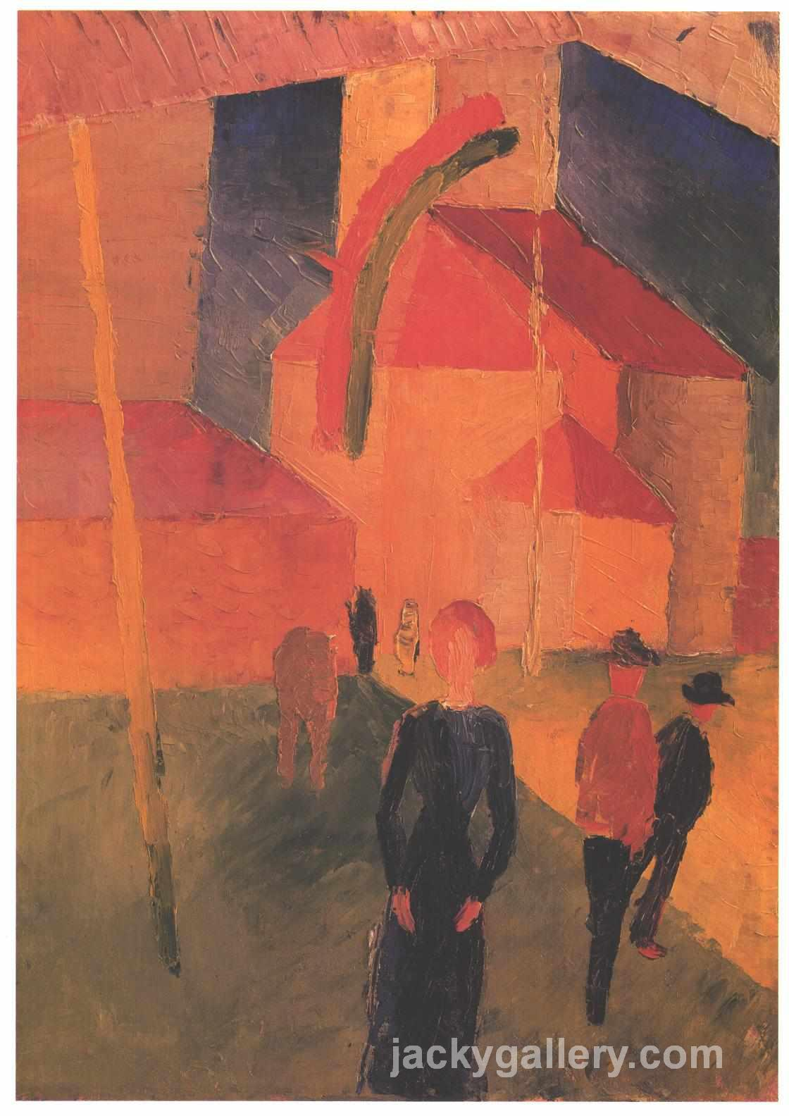 Church Decorated with Flags, August Macke painting
