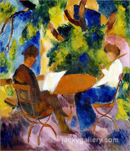Couple at the garden table, August Macke painting