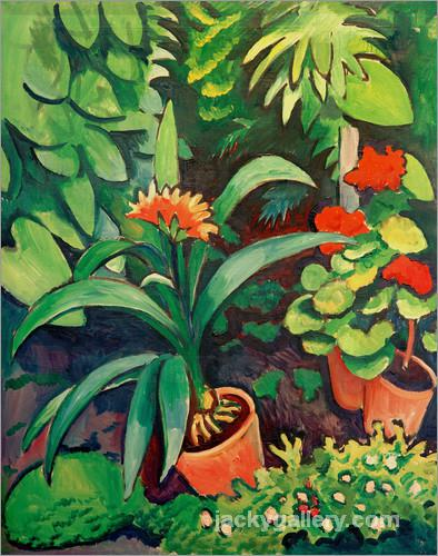 Flowers in the Garden, Clivia and Pelargoniums, August Macke painting