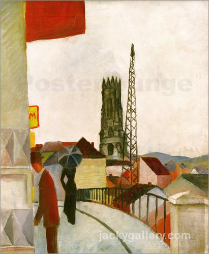 Freiburg Cathedral in Switzerland, August Macke painting
