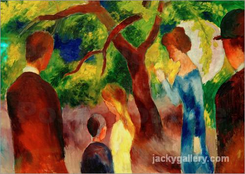 Great Promenade- People in the Garden, August Macke painting