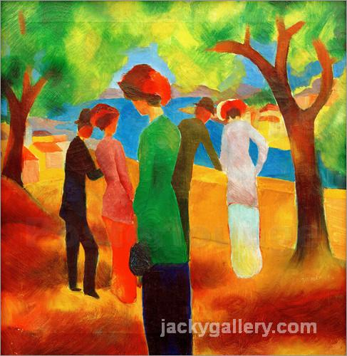 Lady in a Green Jacket, August Macke painting