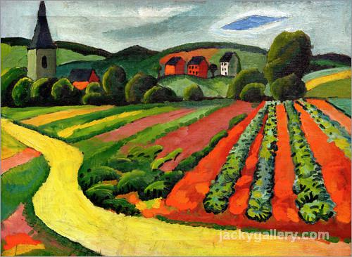 Landscape with Church and path, August Macke painting