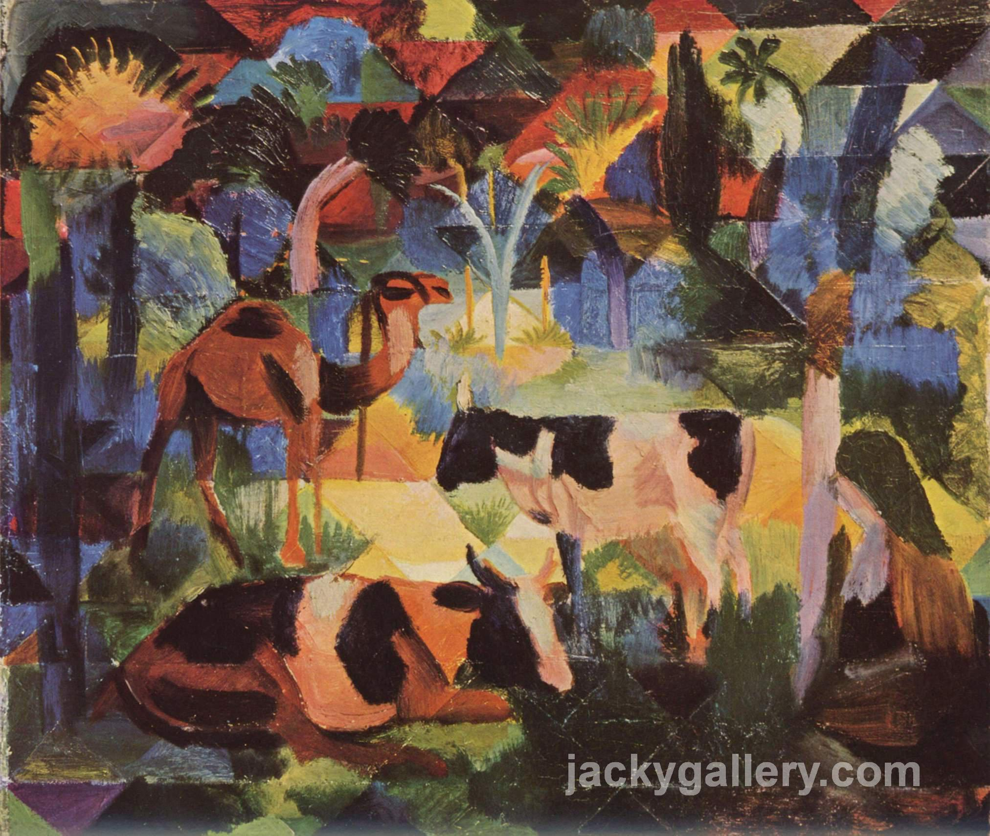 Landscape with Cows and a Camel, August Macke painting