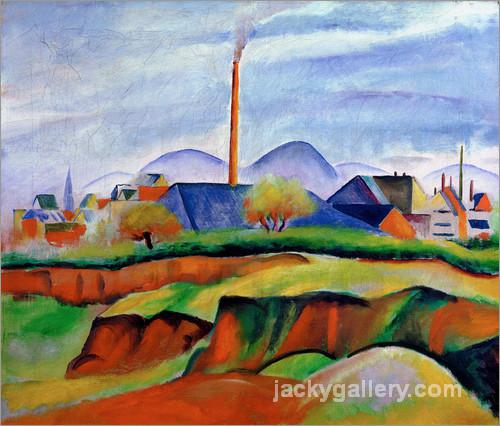 Landschaft mit Fabrik, August Macke painting